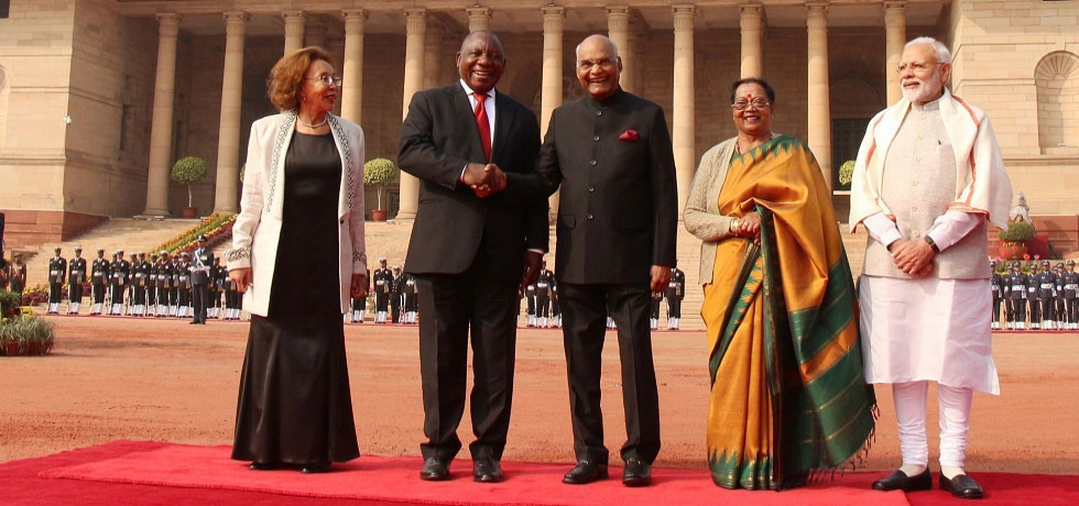 President Ramaphosa being received by President Kovind and Prime Minister Modi at Rashtrapati Bhawan for Ceremonial Reception- Jan 25, 2019