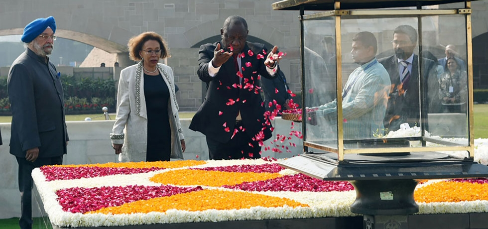 President Ramaphosa offering floral tributes at Raj Ghat, the Samadhi of Mahatma Gandhi- Jan 25, 2019